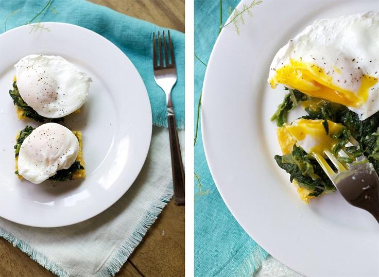 Eggs-Florentine-with-Crispy-polenta-squares