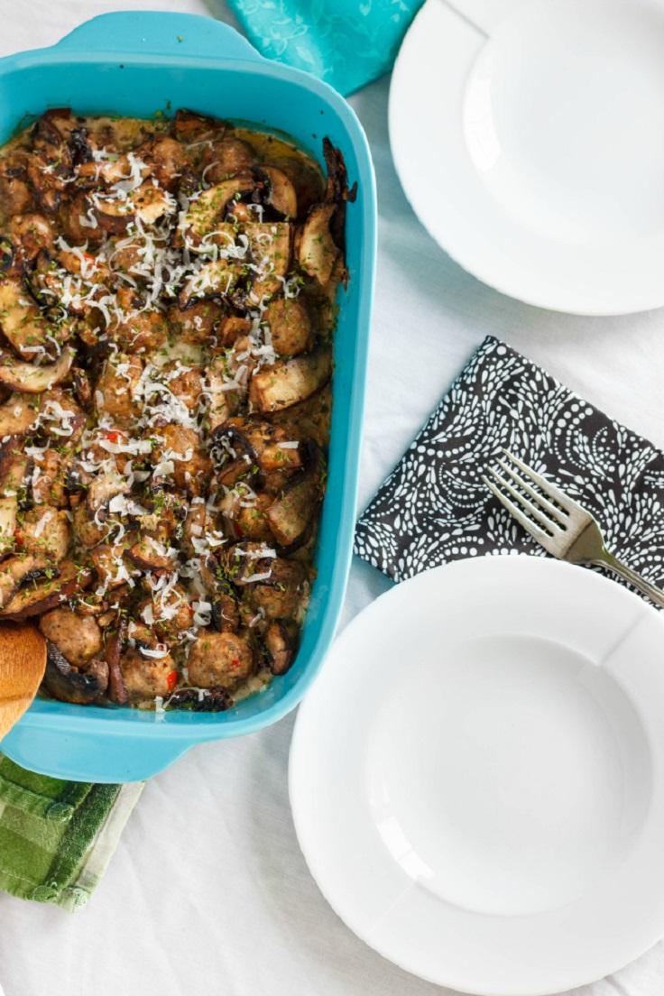 Turkey-Meatballs-in-a-Creamy-Portobello-Mushroom