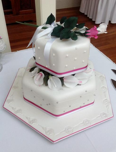 2 Layers Wedding Cakes  2 Level Hexagonal Ivory Wedding Cake with flowers in