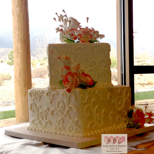 2 Tier Square Wedding Cakes  1518 2 Tier Square Wedding Cake ABC Cake Shop & Bakery