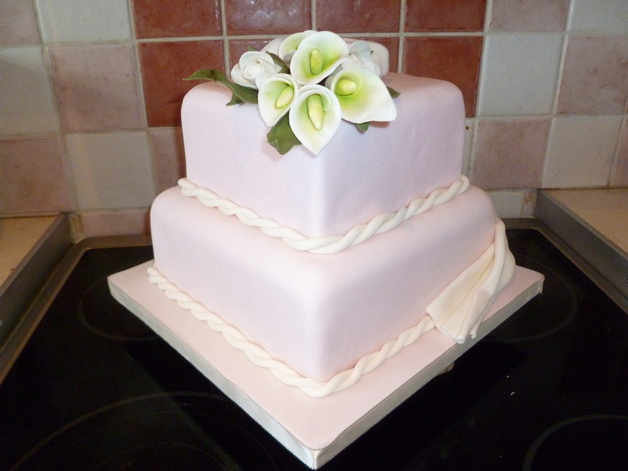 2 Tier Square Wedding Cakes  Calla Lilly And Rose 2 Tier Square Wedding Cake