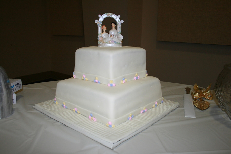 2 Tier Square Wedding Cakes  Two Tier Square Fondant Wedding Cake CakeCentral