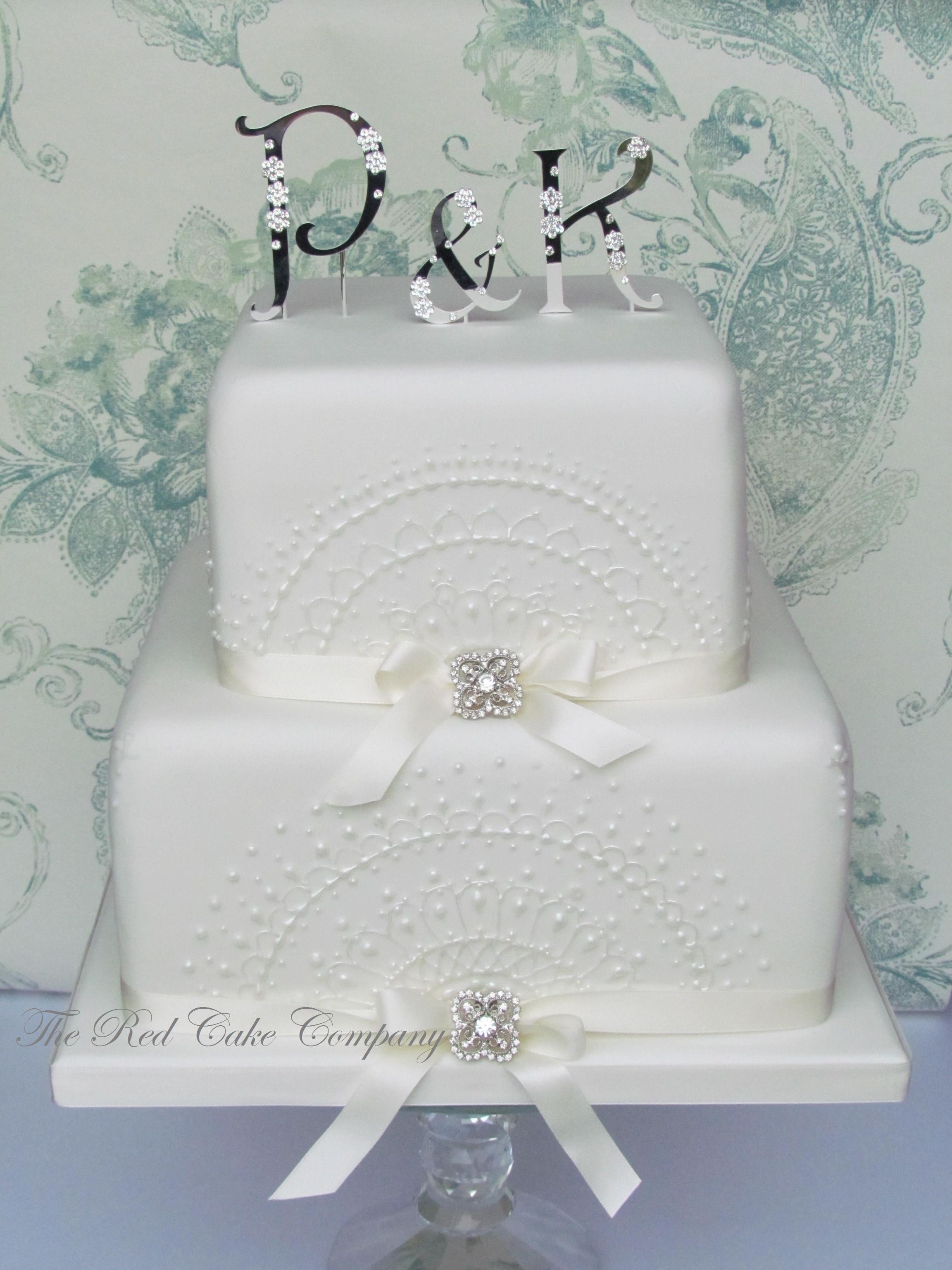 2 Tier Square Wedding Cakes  Lace 2 tier Square cake