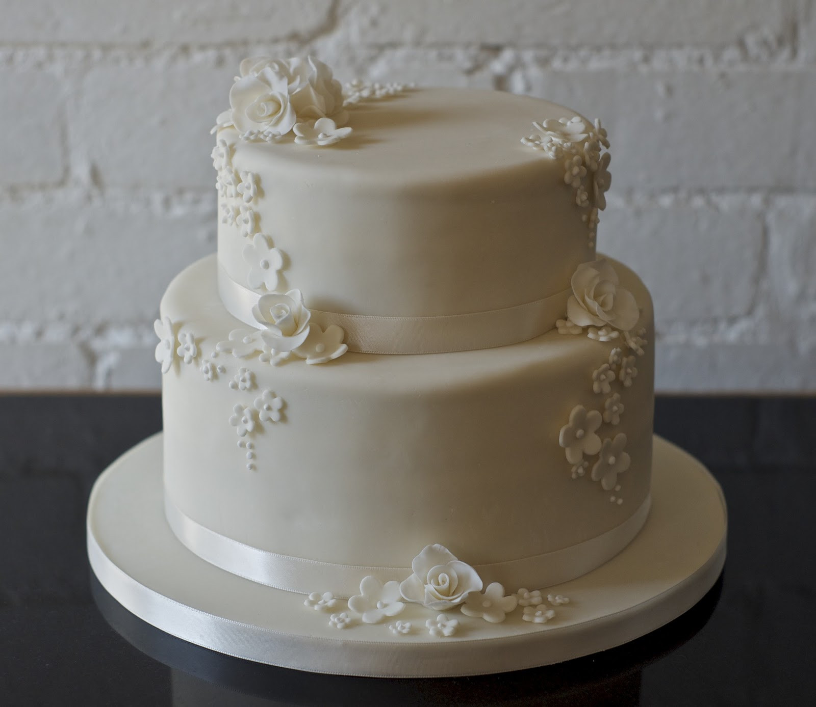 2 Tier Wedding Cakes  REAL LIFE Rose and blossom 2 tier wedding cake