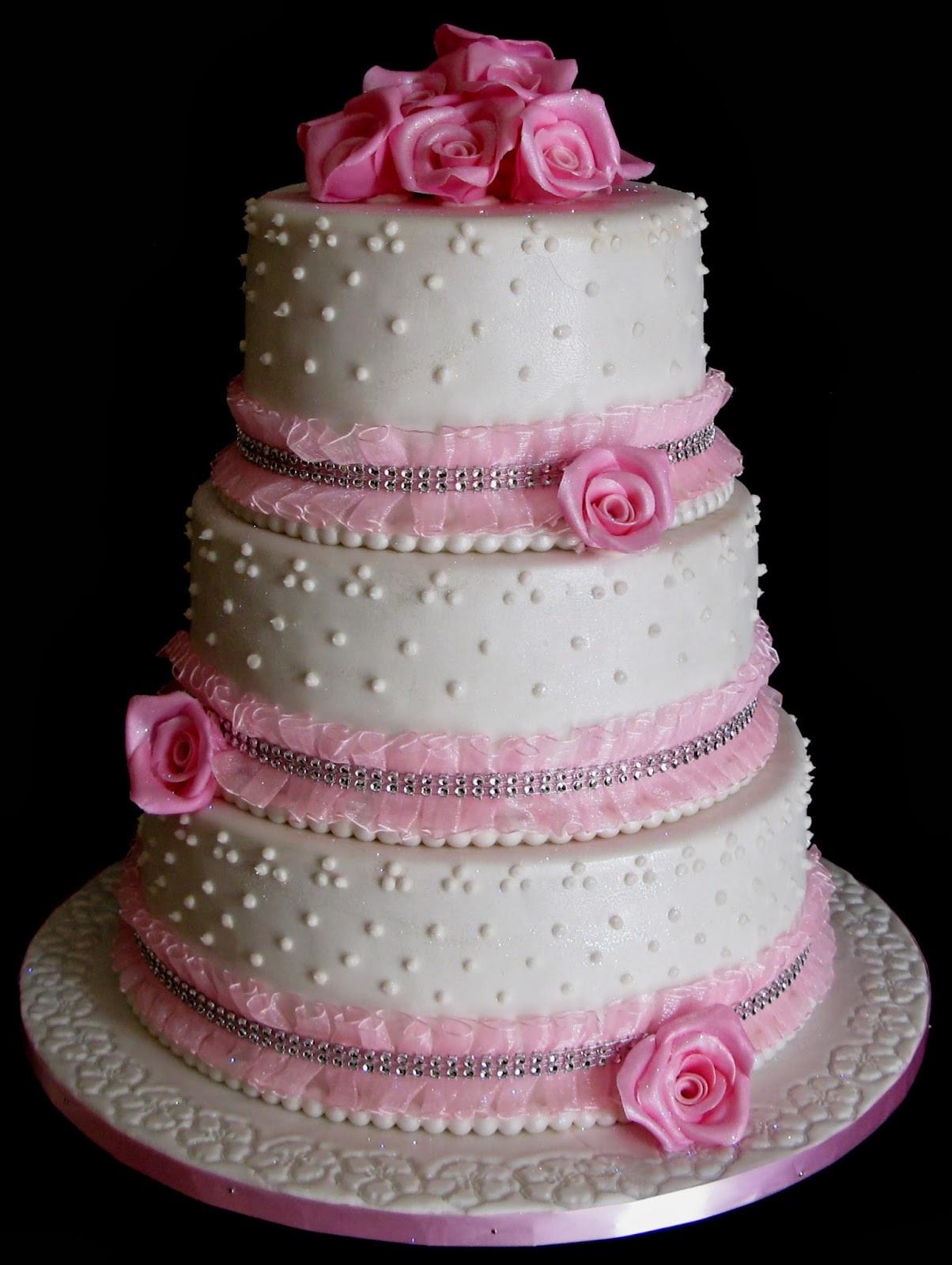 3 Layer Wedding Cakes  Sugarcraft by Soni Three Layer Wedding Cake Pink Roses