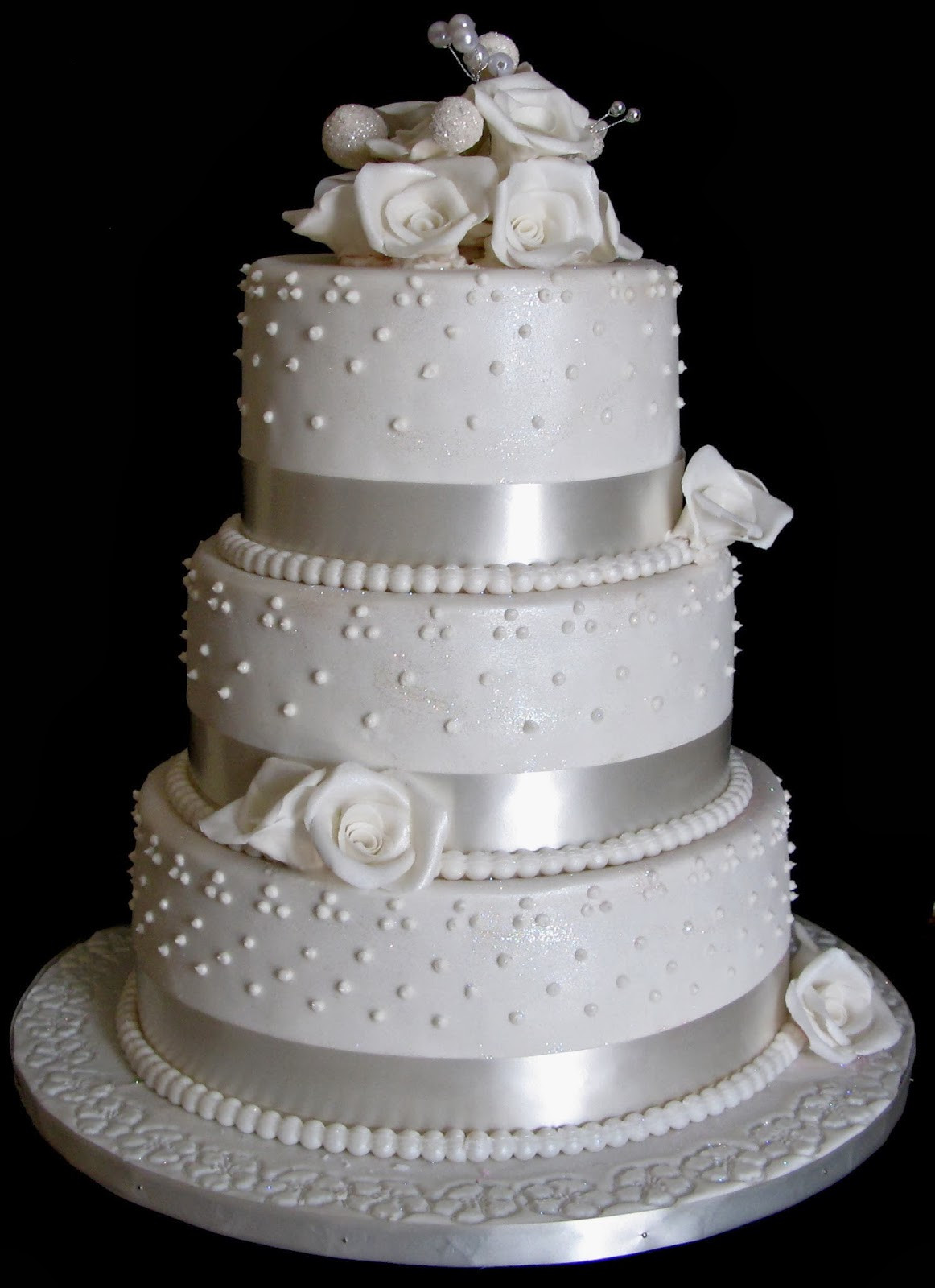 3 Layer Wedding Cakes  Sugarcraft by Soni Three Layer Wedding Cake White Roses
