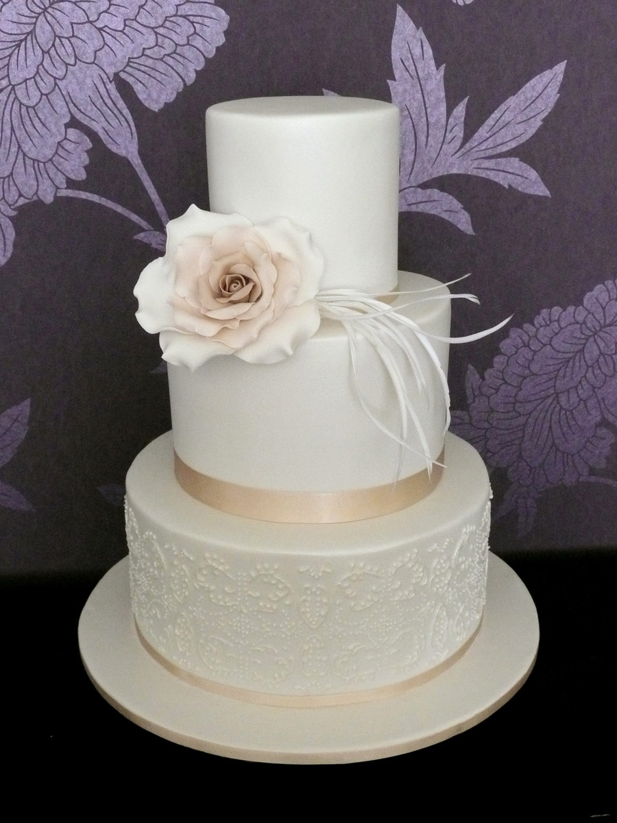 3 Layered Wedding Cakes  Double Stack Wedding Cake With Ivory Rose CakeCentral