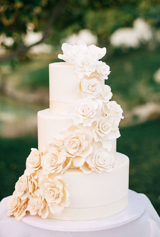 3 Layered Wedding Cakes  Three Tier f White Sugar Flower Wedding Cake
