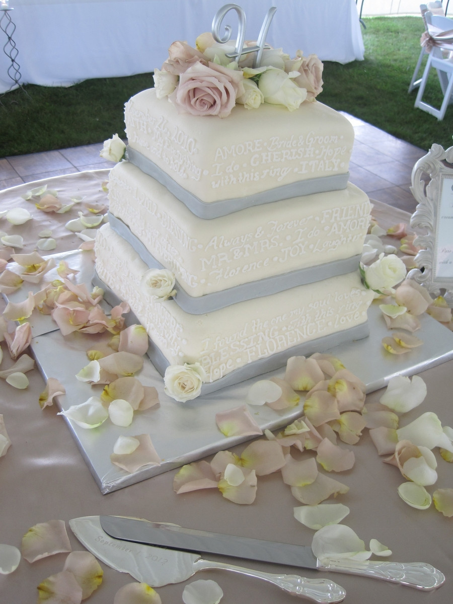 3 Tier Square Wedding Cakes  3 Tier Square Wedding Cake CakeCentral