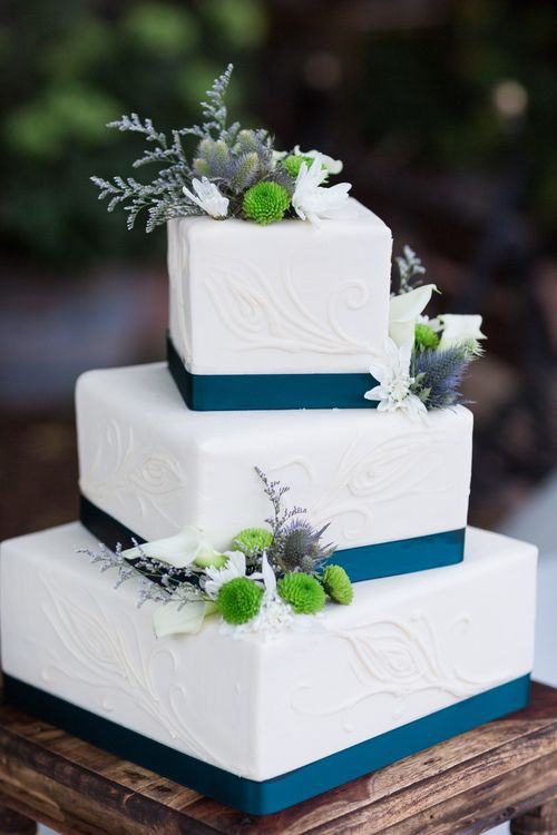 3 Tier Square Wedding Cakes  Wedding Cake White Teal Square 3 Tier