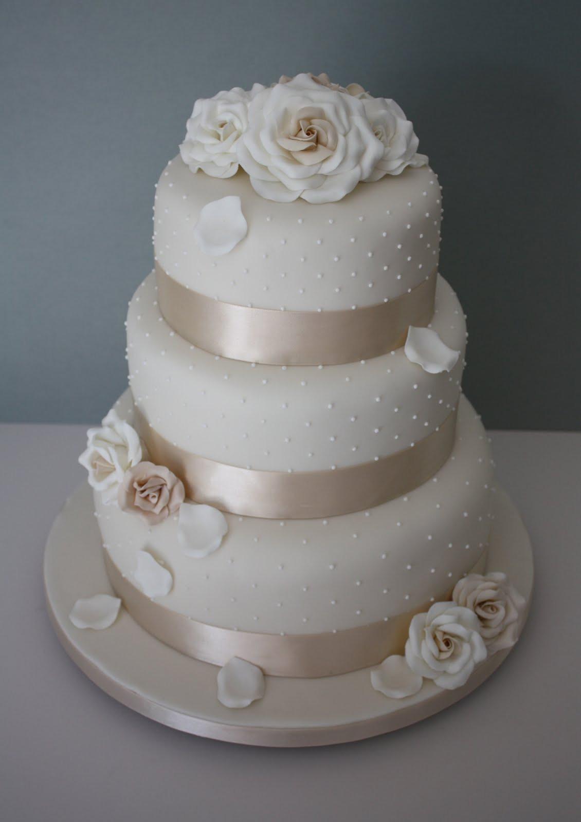 3 Tier Wedding Cakes Designs  Tiers & Tiaras Allt yr ynys Roses and Dots Wedding Cake