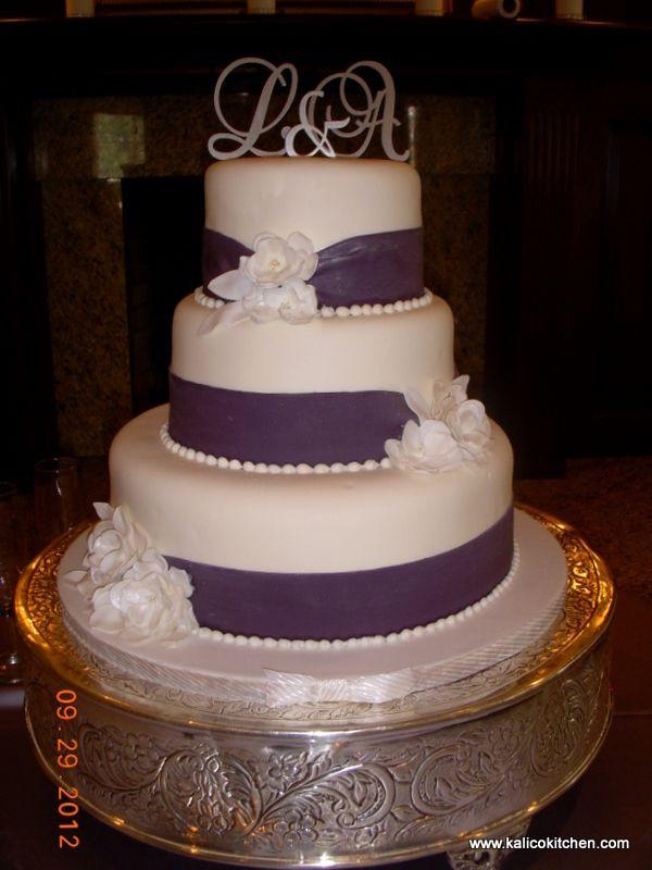 3 Tier Wedding Cakes Designs  Wedding Cakes 3 tier fondant wide purple ribbons