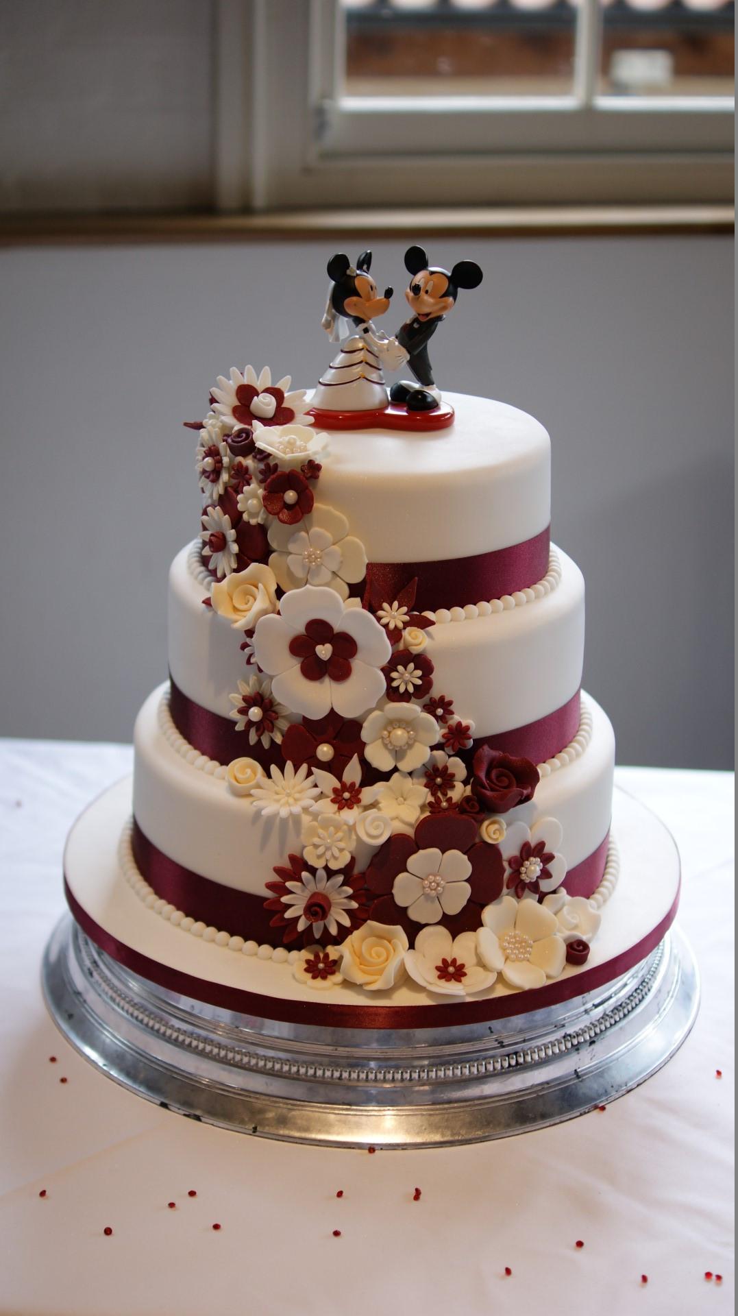 3 Tier Wedding Cakes Designs  Disney Theme 3 Tier Wedding Cake Bakealous