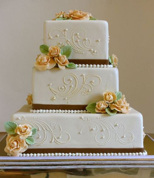 3 Tiered Square Wedding Cakes  3 tier white square wedding cake with pink sugar roses and