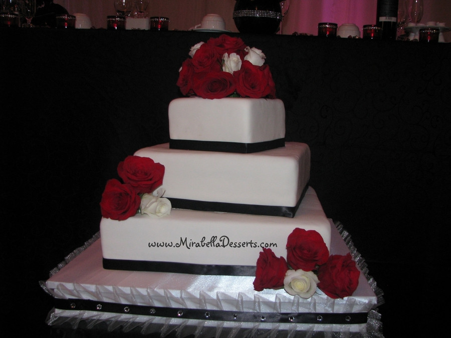 3 Tiered Square Wedding Cakes  3 Tier Square Wedding Cake Decorated To Match The