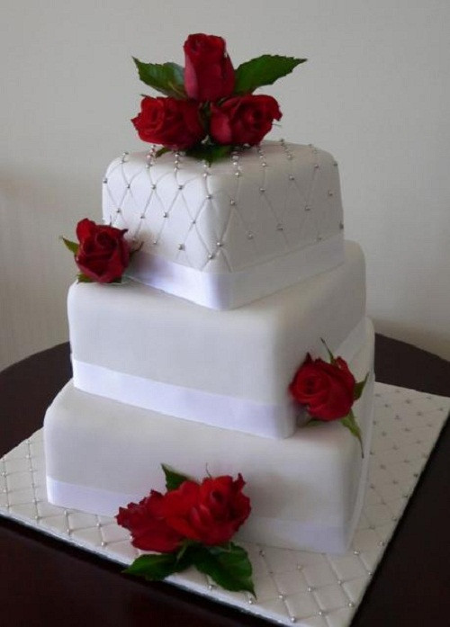 3 Tiered Square Wedding Cakes  3 tier wedding cakes square