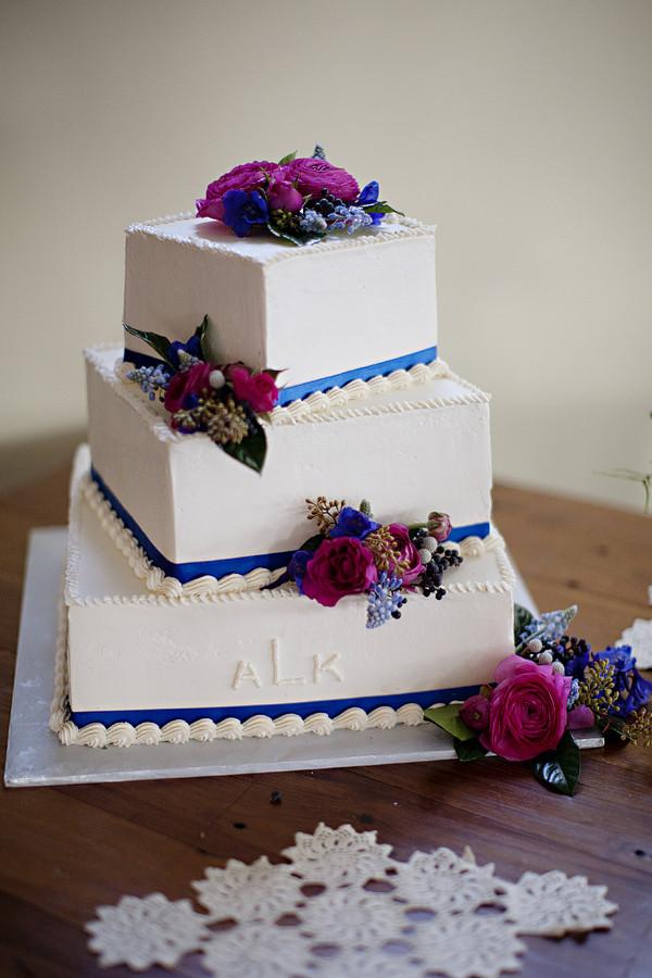 3 Tiered Square Wedding Cakes  Three Tiered Square Wedding Cake Elizabeth Anne Designs