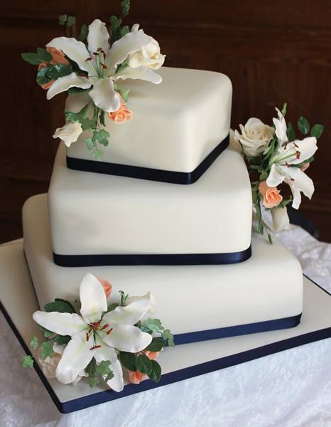 3 Tiered Square Wedding Cakes  Wedding Cakes