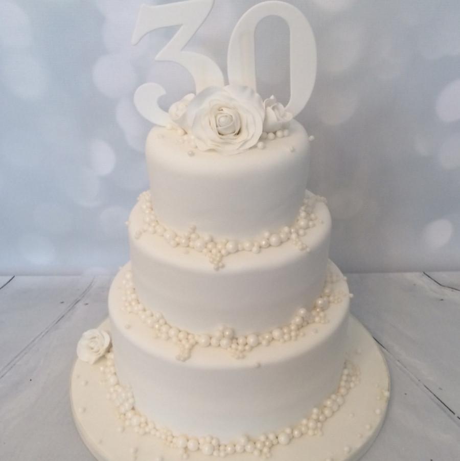 30Th Wedding Anniversary Cakes  3 tier Pearl Wedding Anniversary