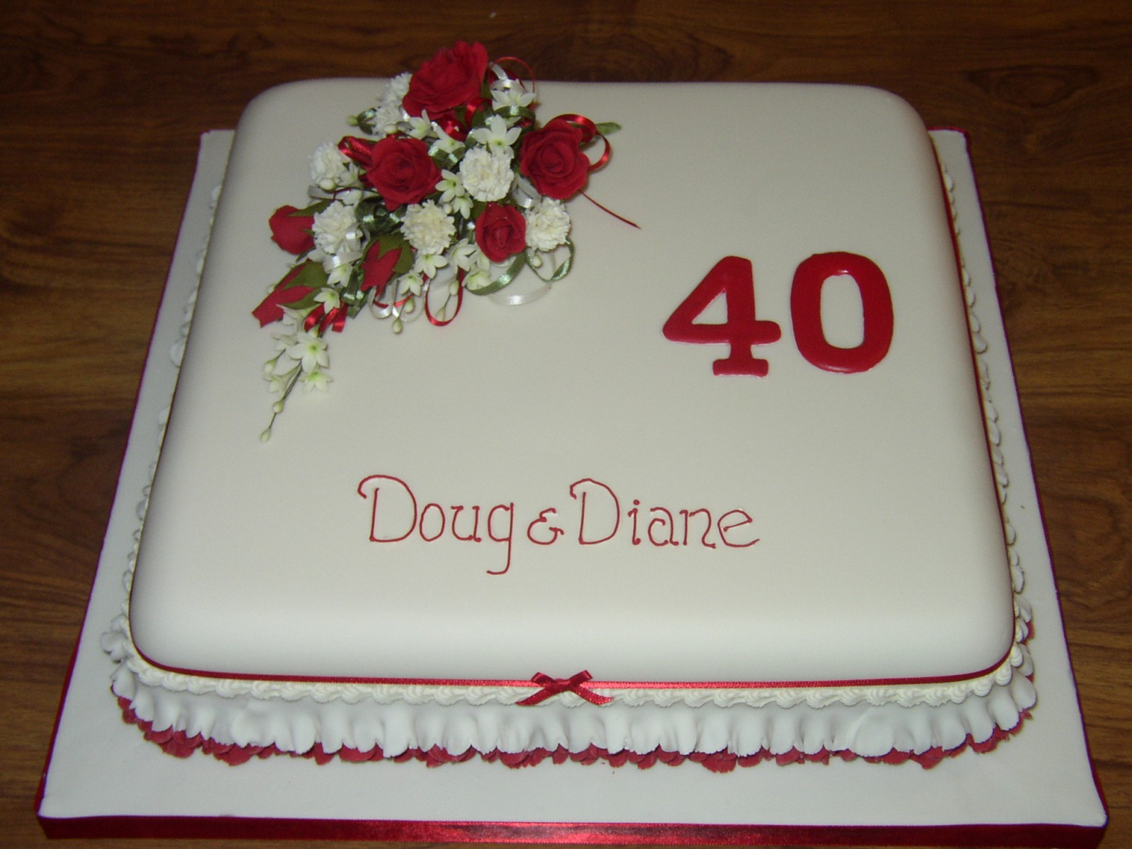 40Th Wedding Anniversary Cakes  40th Wedding Anniversary Cake With Red Rose Flower Spray