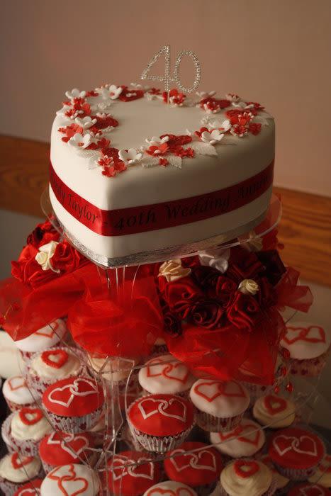 40Th Wedding Anniversary Cakes  40th Ruby Wedding Anniversary Cake Cake by Carol