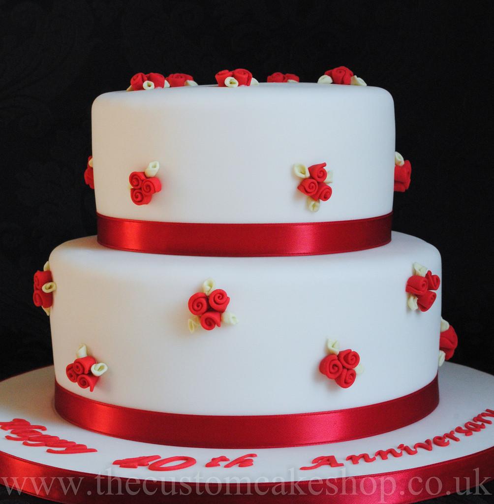 40Th Wedding Anniversary Cakes  40th Ruby Wedding Anniversary Cake