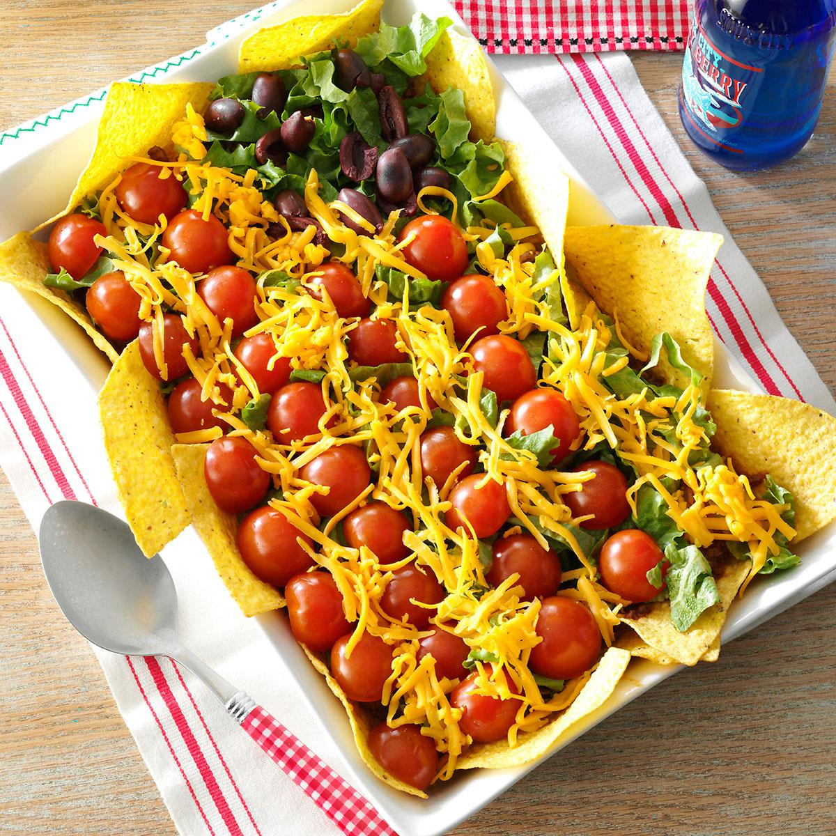 4Th Of July Appetizers And Side Dishes  Patriotic Taco Salad Recipe