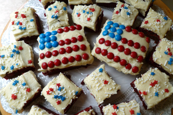 4Th Of July Brownies  Fourth of July recipe Red velvet flag brownies