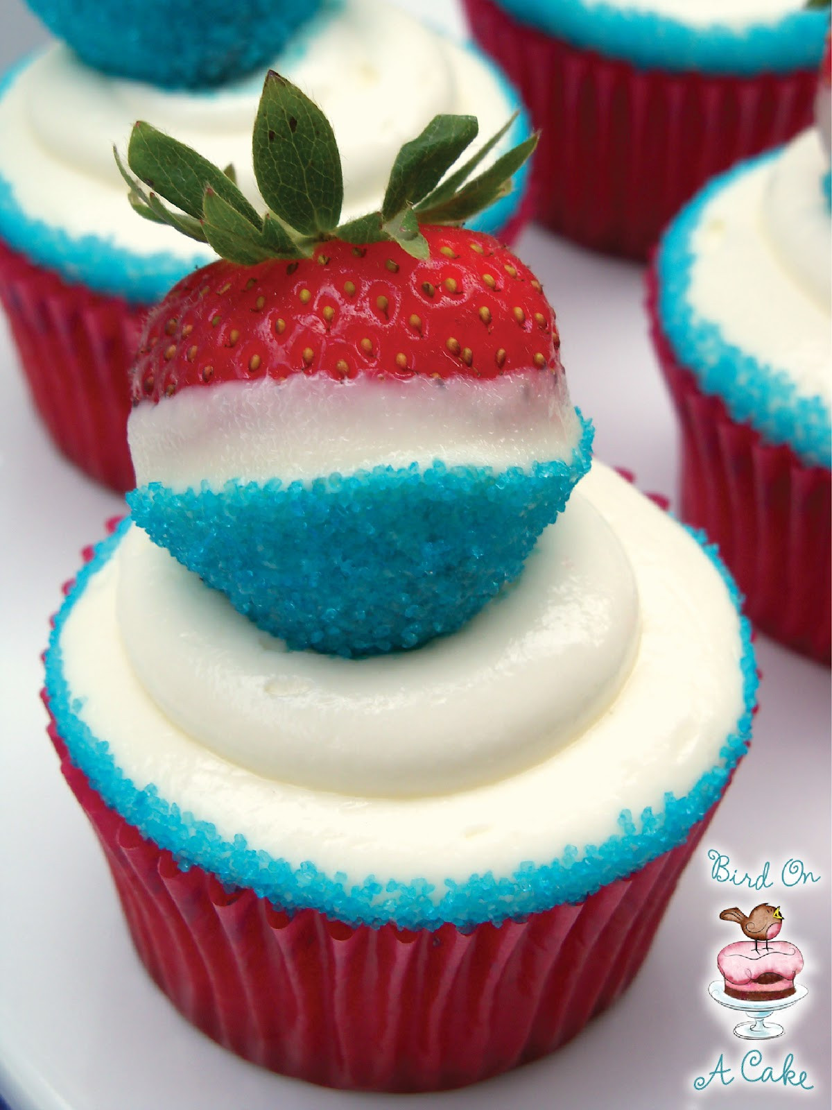 4Th Of July Cupcakes  Bird A Cake Red White and Blue Strawberry Cupcakes