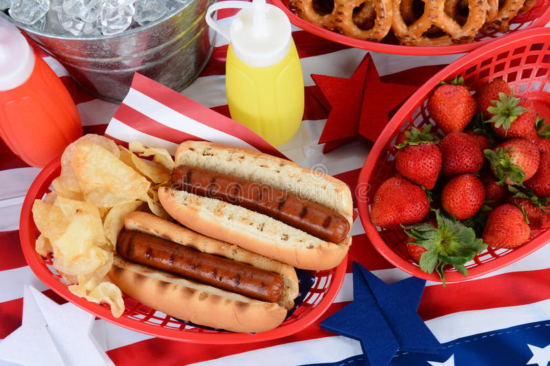 4Th Of July Hot Dogs  Hot Dogs 4th July Picnic Table Stock Image Image