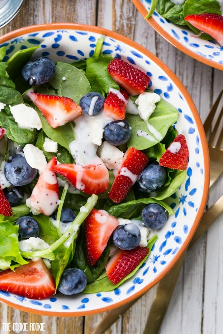 4Th Of July Salads  Red White and Blue Mason Jar Salad Fruit and Feta Salad