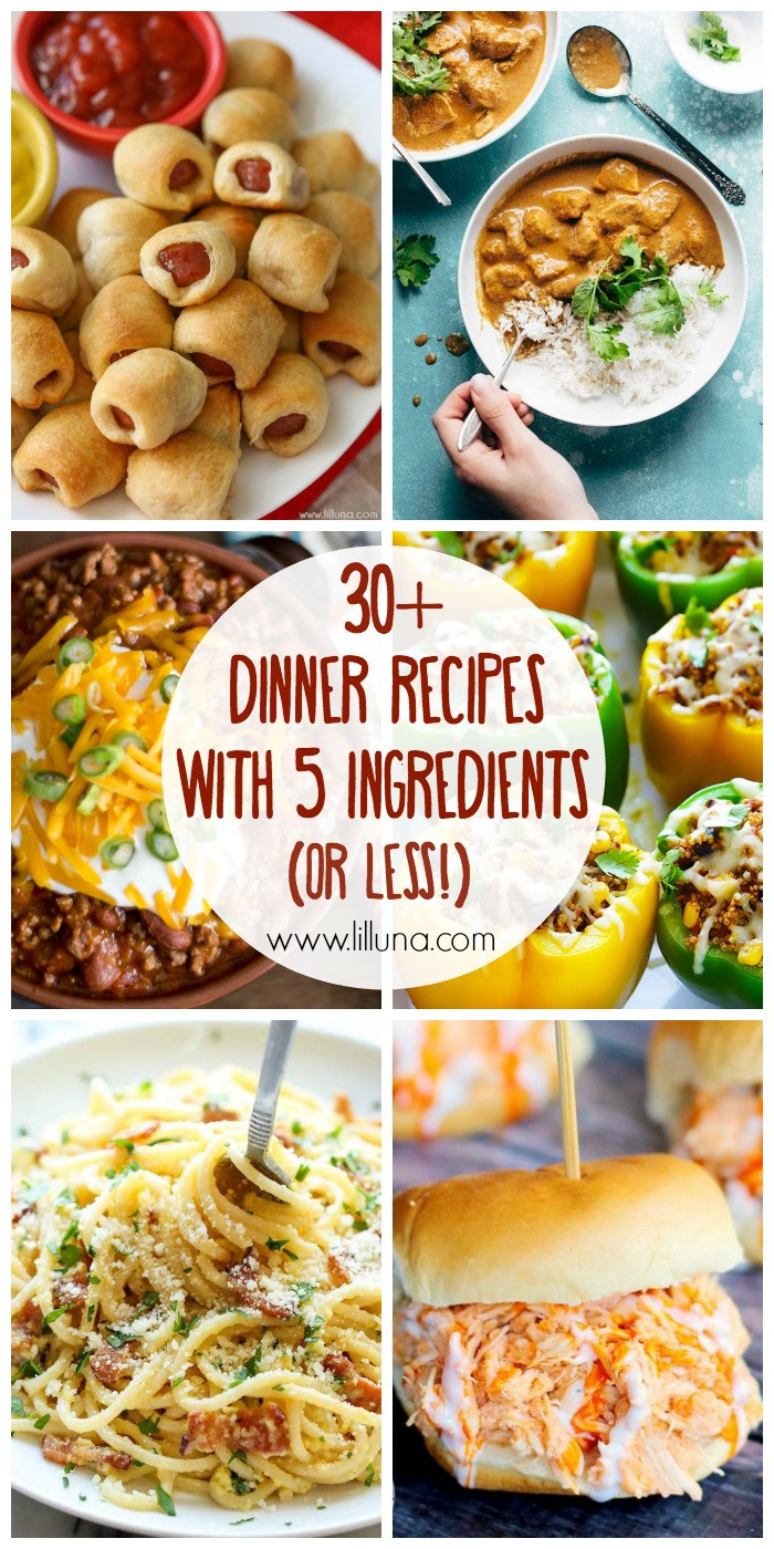 5 Ingredient Healthy Dinners  30 5 Ingre nt or less Dinner Recipes Lil Luna