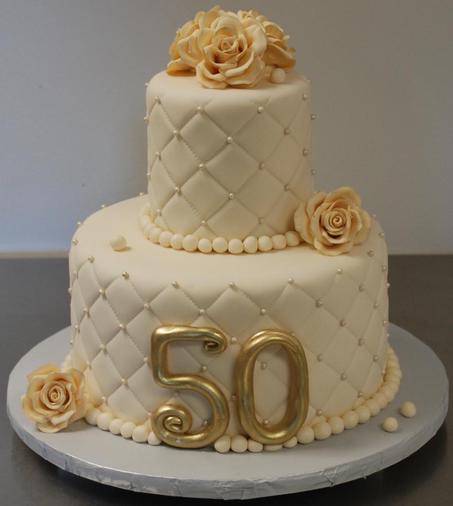 50Th Wedding Anniversary Cakes  Gold and Elegant 50th Anniversary Cake Decoration Idea
