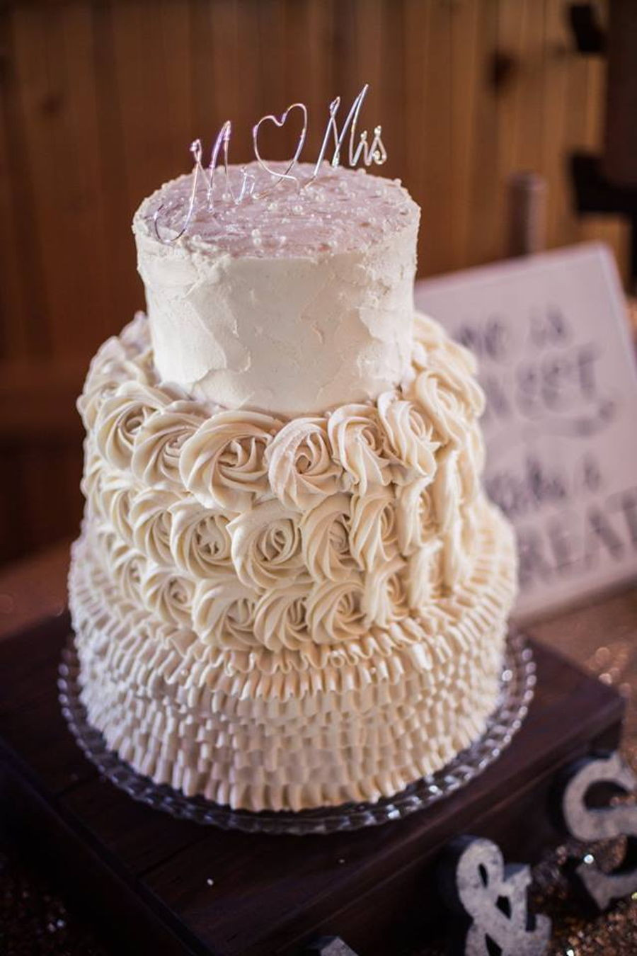 6 Inch Wedding Cakes  Rustic Ruffle And Rosettes Wedding Cake CakeCentral