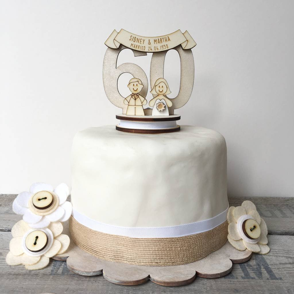 60Th Wedding Anniversary Cakes  personalised 60th wedding anniversary cake topper by just