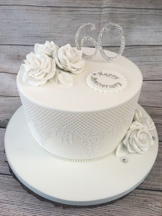 60Th Wedding Anniversary Cakes  60th Wedding Anniversary Cake cake by Lorraine Yarnold