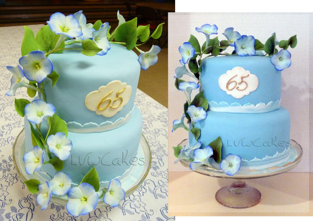 65Th Wedding Anniversary Cakes  65th wedding anniversary cake with climbing morning glory