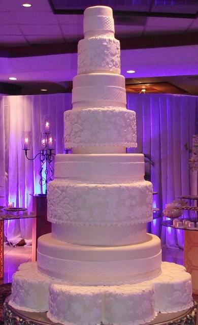 7 Tier Wedding Cakes  7 tier white round wedding cake with alternating patterns