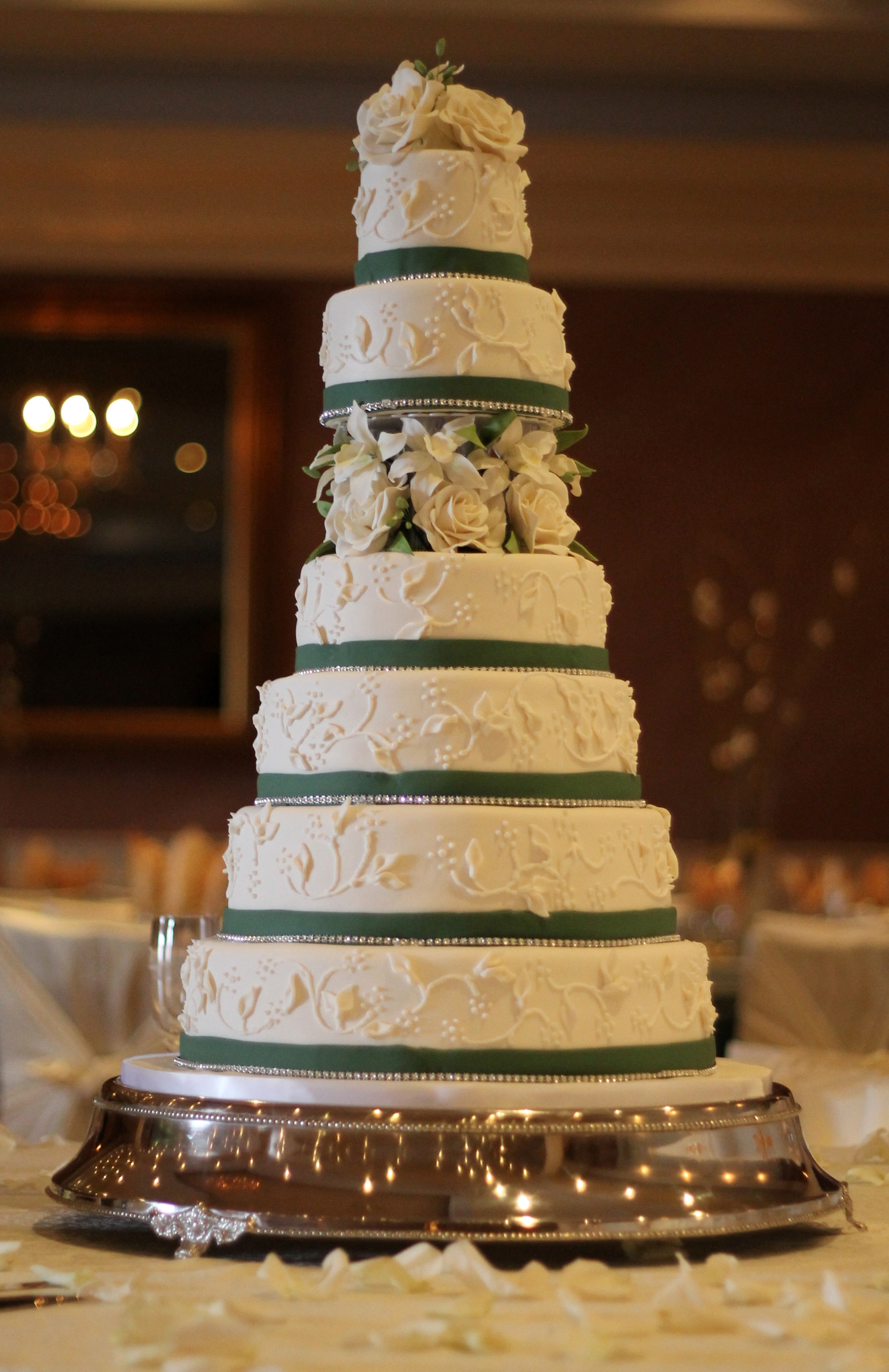 7 Tier Wedding Cakes  Seven Tier Green and White Floral Wedding Cake Diary of