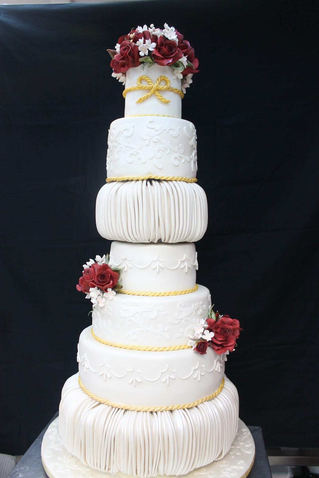 7 Tier Wedding Cakes  plete Deelite 7 tier Burgundy Rose Wedding Cake