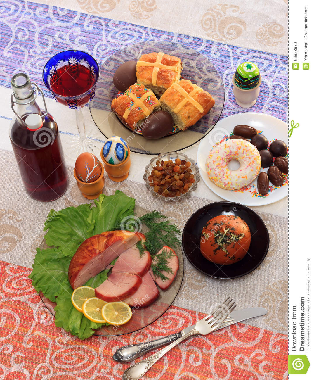 A Popular Easter Dinner  Traditional Easter Dinner Set With Sliced Meat With Lemon