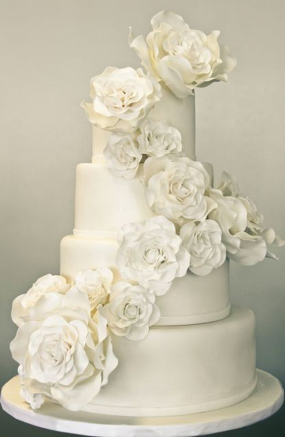 All White Wedding Cake  A Sweet Soiree All White Wedding Cakes