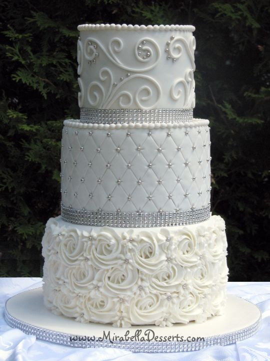 All White Wedding Cake  All white wedding cake Cake by Mira Mirabella Desserts