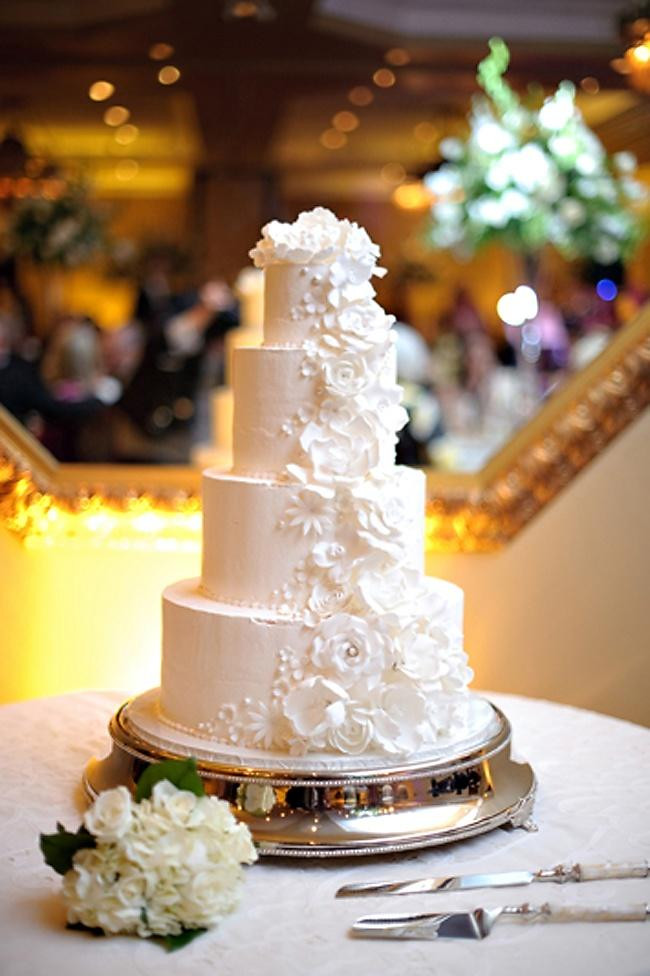 All White Wedding Cake  Wedding Cakes All White Wedding Cake Weddbook