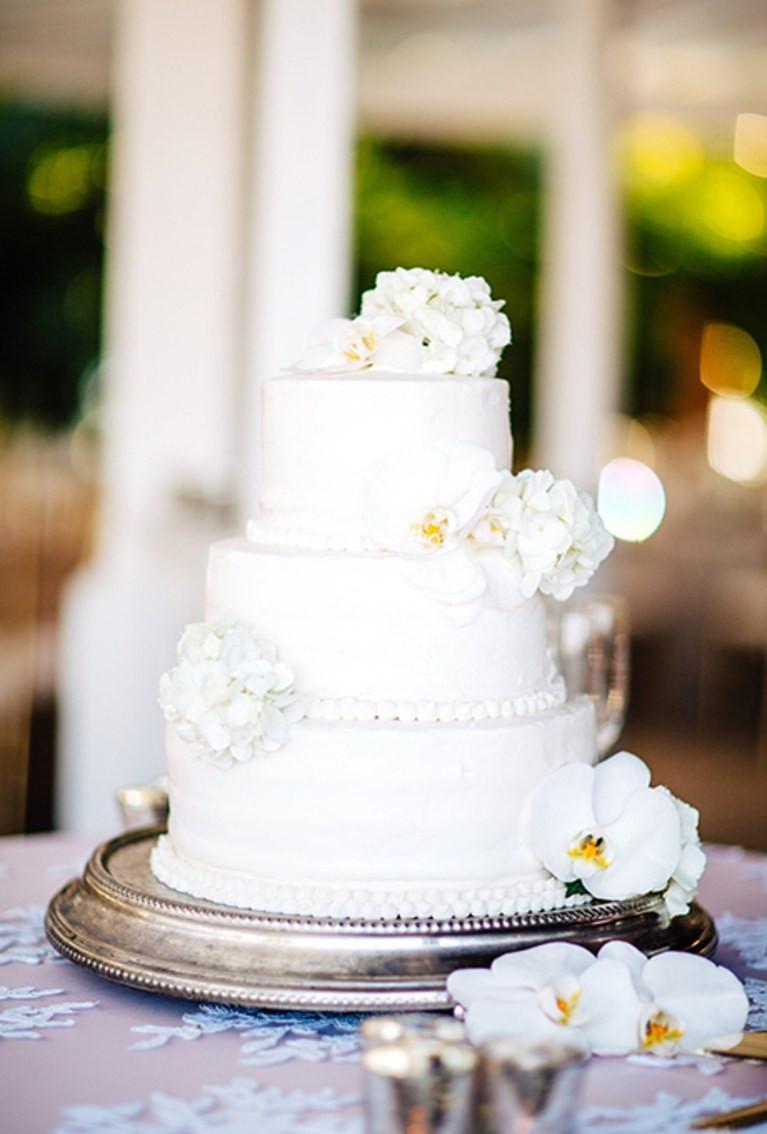 All White Wedding Cakes  All White Wedding Cake with Flowers