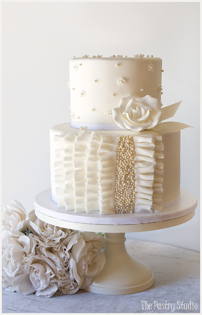 All White Wedding Cakes  A Petite all White Wedding Cake with Ruffle and Pearls by