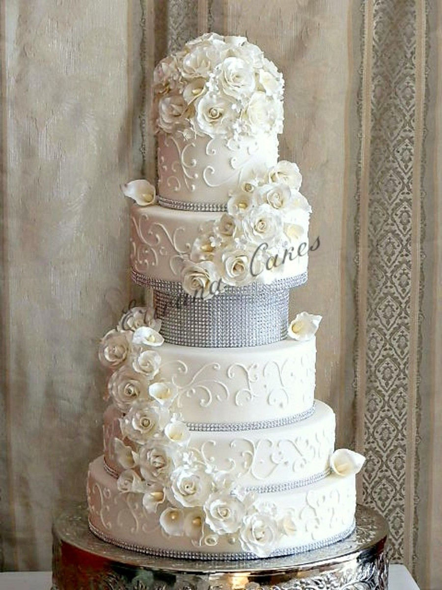 All White Wedding Cakes  All White Wedding Cake CakeCentral