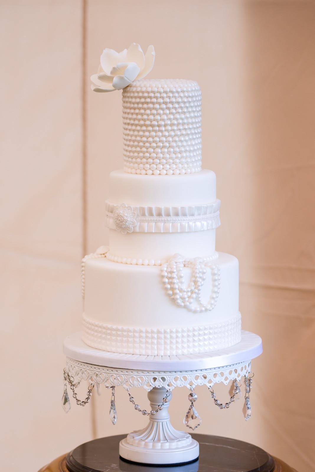 All White Wedding Cakes  Elegant all white wedding cake