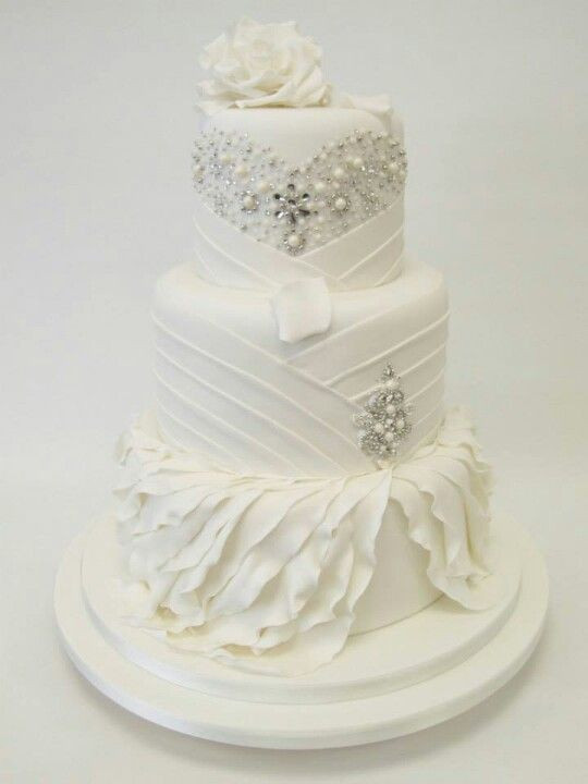 All White Wedding Cakes  Picture Exquisite All White Wedding Cakes