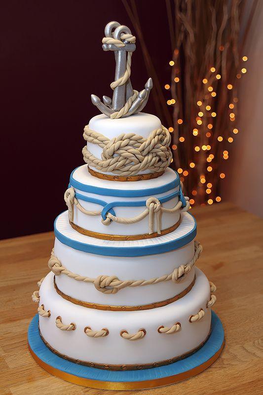Anchor Wedding Cakes  Nautical Wedding Cake handmade fondant ropes & anchors